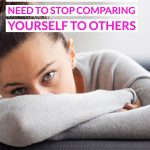 Homeschool Mom's Why You Need To Stop Comparing Yourself To Others text overlaid on a photo of a stressed woman on a couch.