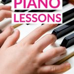 Free Online Piano Lessons text overlaid on a photo of a child hands playing piano.