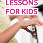 Free Piano Lessons For Kids text overlaid on a photo of a young girl playing piano.