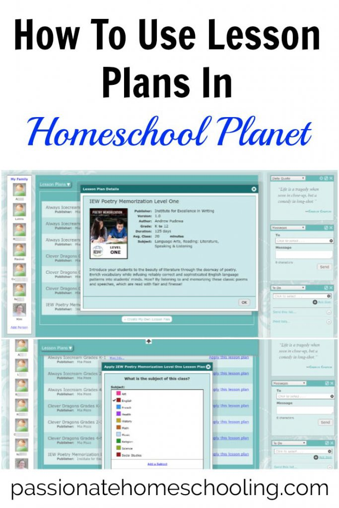 How to Use Lesson Plans In Homeschool Planet text overlaid on a collage photo of planner screenshots.