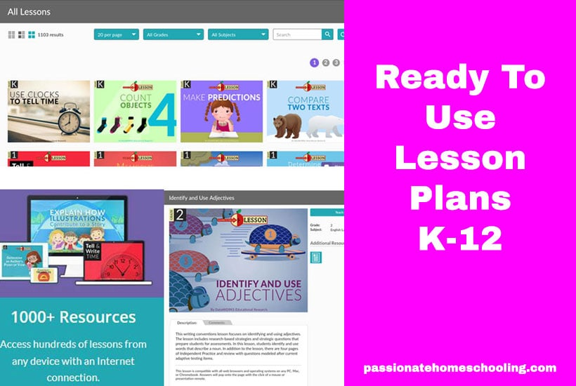 Ready To Use Homeschool Lesson Plans