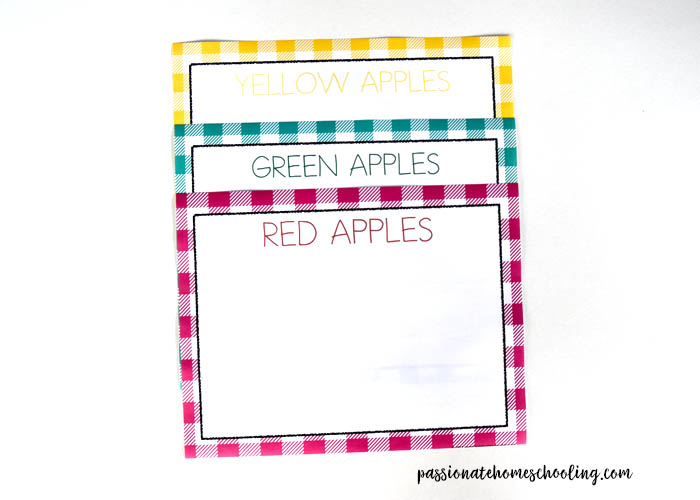 3 Apple Color Sorting Printables