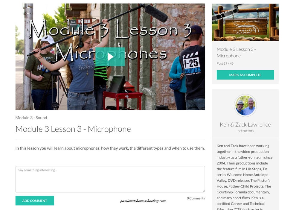 Online video course lessons