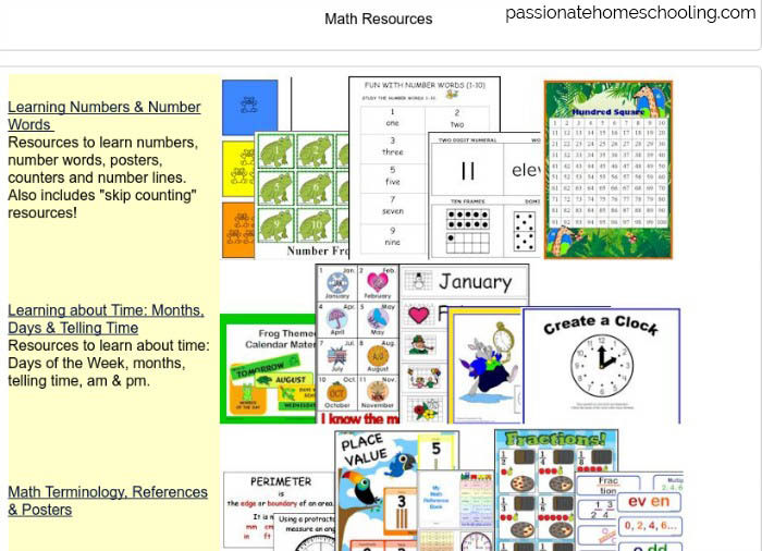 Printable math resources