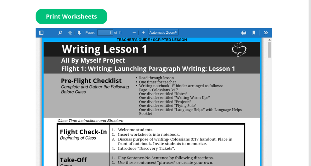 Flight Paragraph Writing Lesson 1 worksheets
