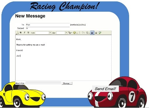 Race car email template
