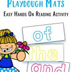 First 100 Words Playdough Mats text overlaid on a image showing sample word themed playdough cards