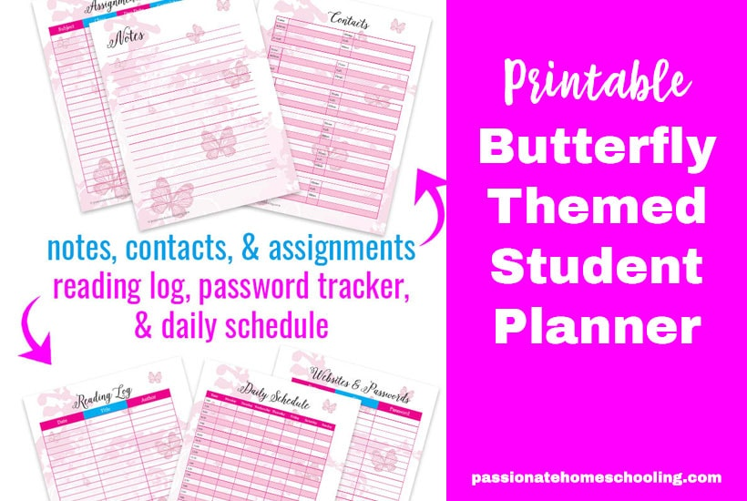 Student Planner Printable Butterfly Theme