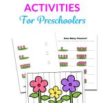 Flower Math Printable Activities For Preschoolers text overlaid on a image of printable worksheets