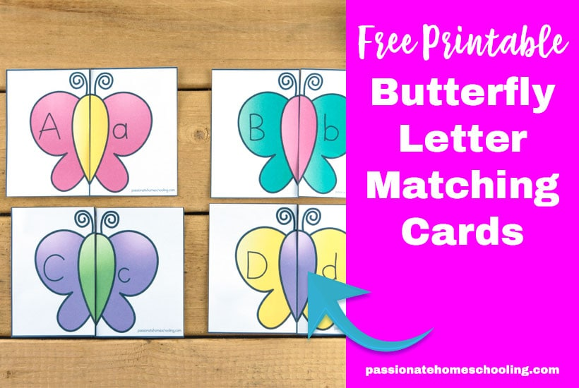 graphic regarding Printable Letter Cards identified as Free of charge Printable Butterfly Matching Uppercase and Lowercase