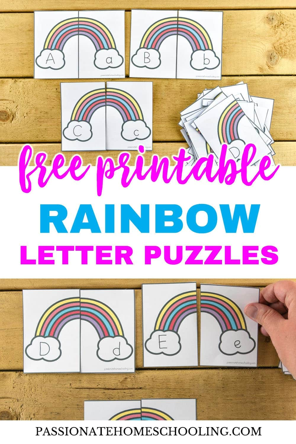 Free Printable Rainbow Letter Match Cards