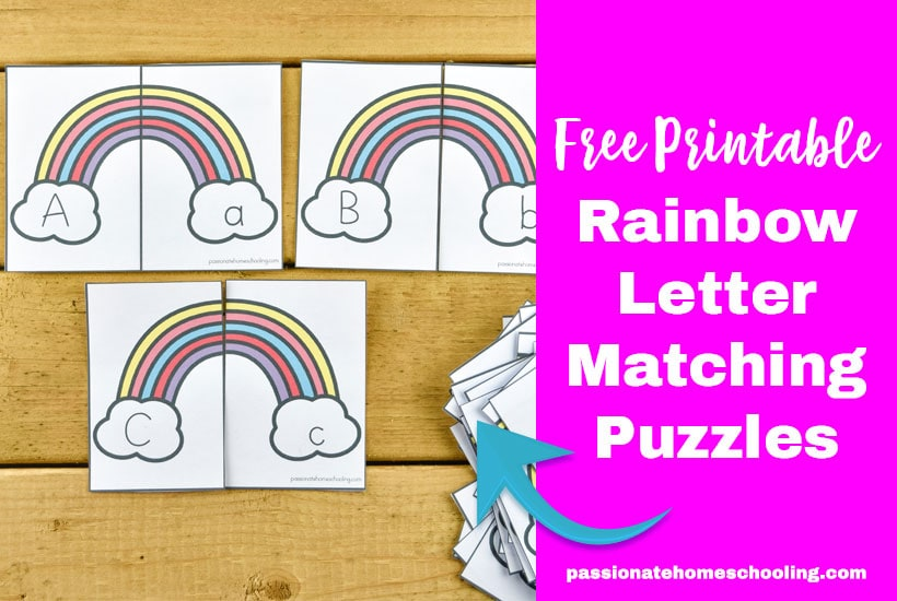 Free Printable Rainbow Letter Matching Puzzles