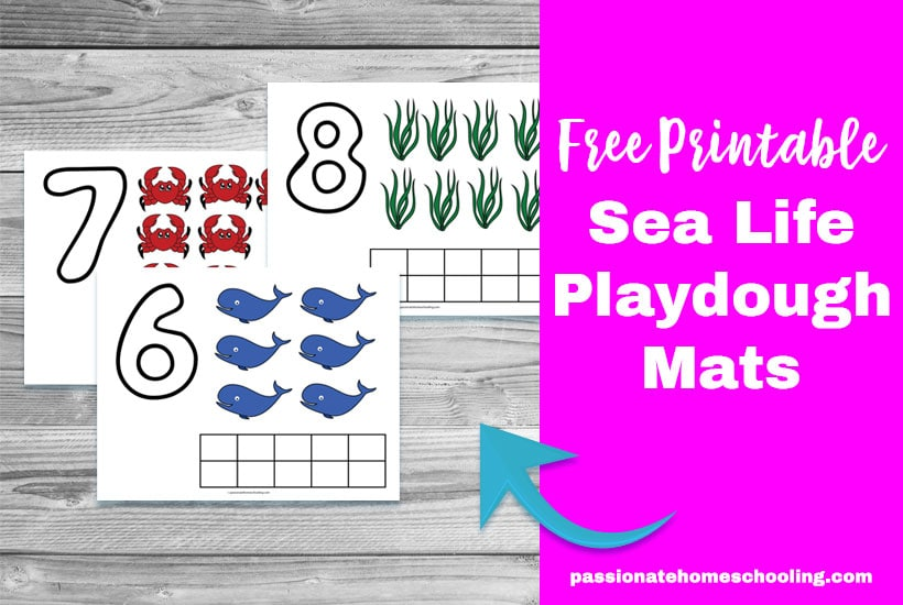 Free Printable Sea Life Playdough Number Mats