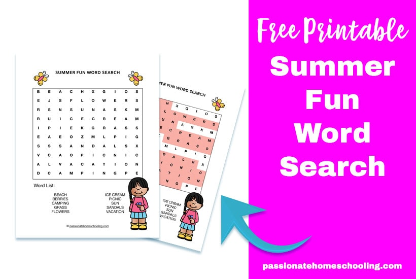 Free Printable Summer Fun Word Search For Kids