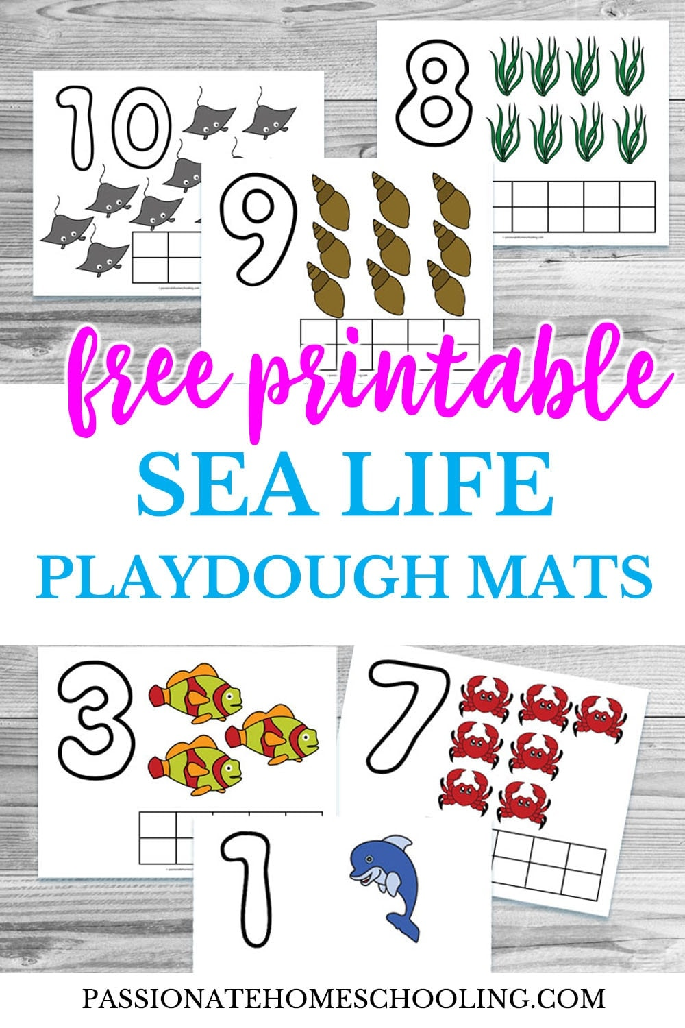 Free Printable Sea Life Playdough Mats text overlaid on a collage photo of ocean themed playdough mats for counting to 10.