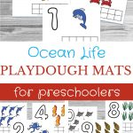 Ocean Life Playdough Mats For Preschoolers text overlaid on a collage photo of math playdough mats with a sea life theme.