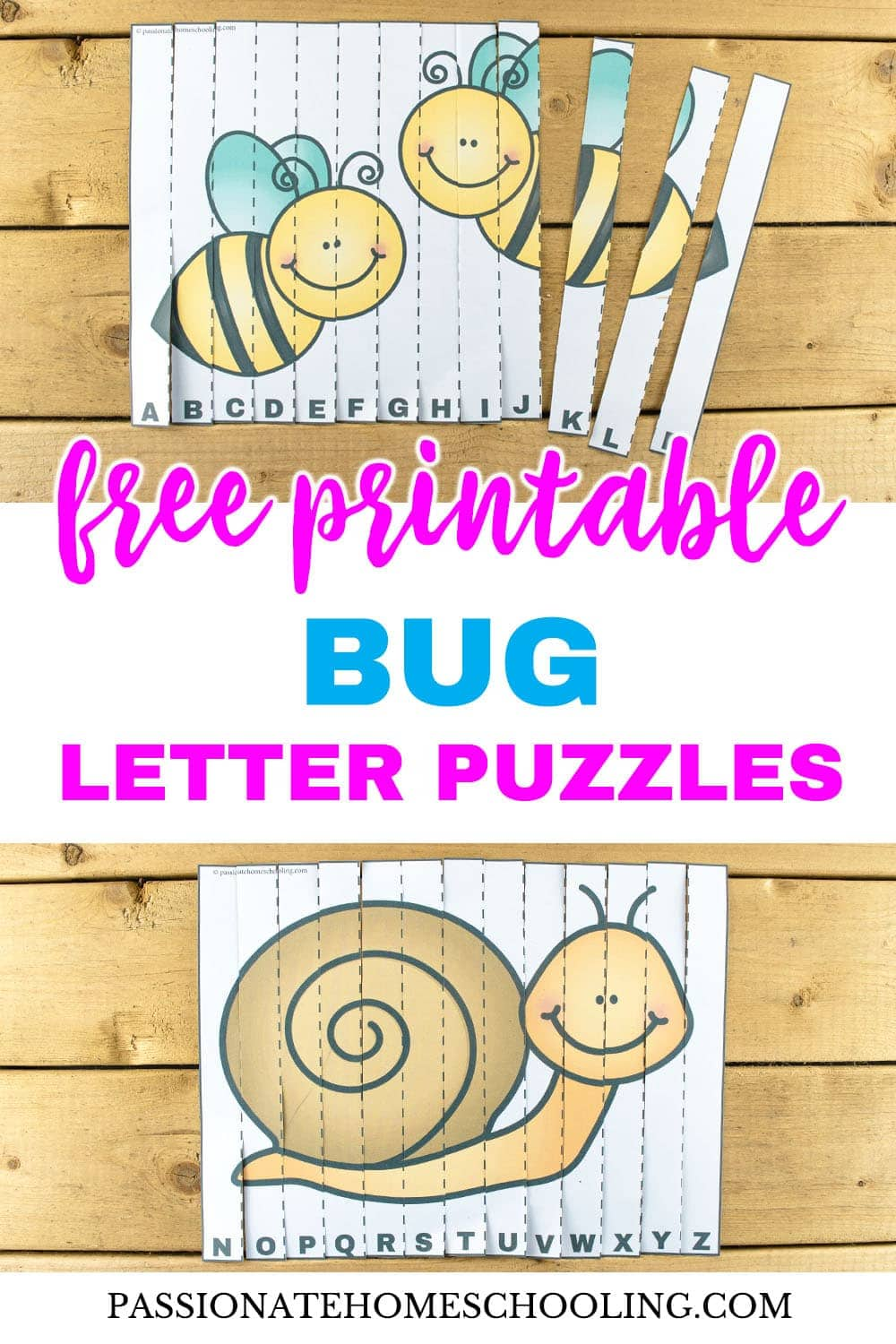 image about Printable Puzzles for Preschoolers named Totally free Printable Bug Letter Puzzles - Pionate Homeschooling