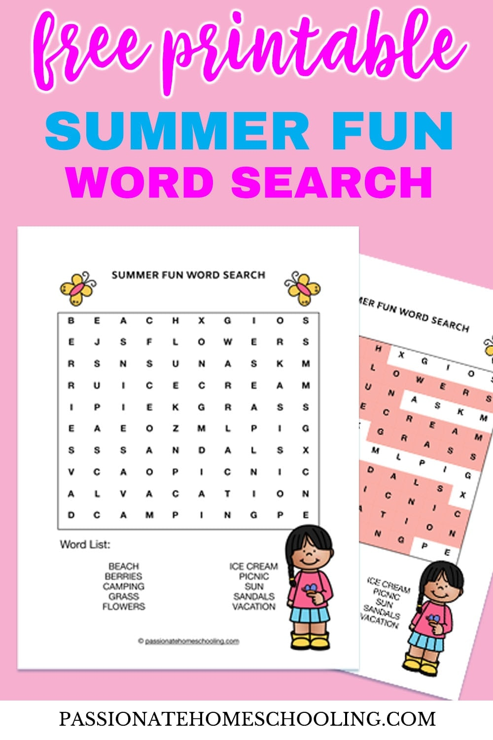 picture relating to Free Printable Word Search for Kids titled Absolutely free Printable Summer time Pleasurable Term Seem - Pionate Homeschooling