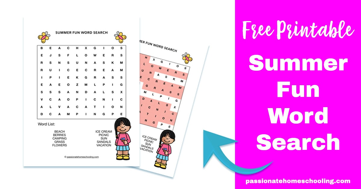 graphic regarding Free Printable Summer Word Search identified as Free of charge Printable Summer time Enjoyable Phrase Look - Pionate Homeschooling