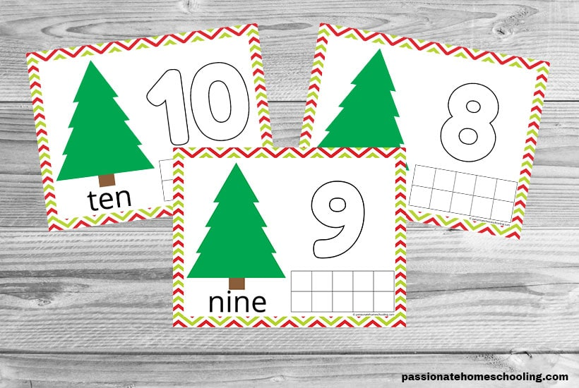 3 Christmas tree playdough mats for numbers 8, 9, and 10 on a wooden table background.