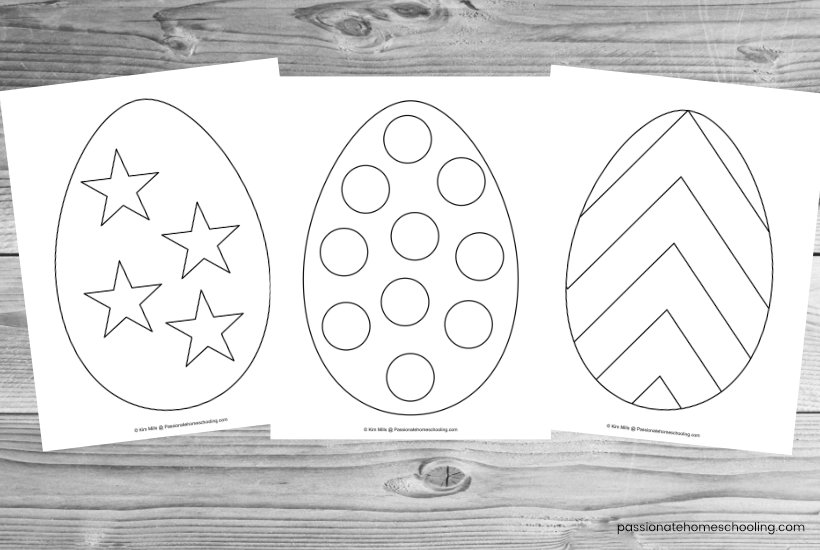 3 Sample Easter egg coloring pages on a wooden background.