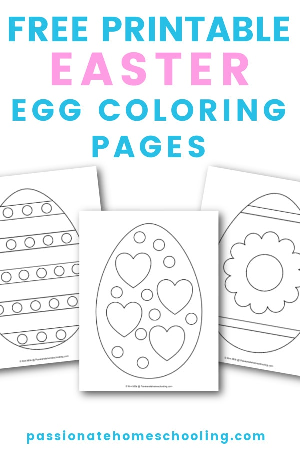 Sample Easter coloring pages. Text overlay says Free Printable Easter Egg Coloring Pages.