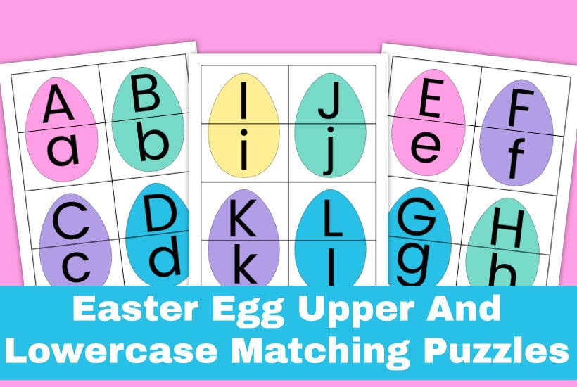 Easter letter puzzle sample pages on a pink background. Text overlay says Easter Egg Upper and Lowercase Matching Puzzles.