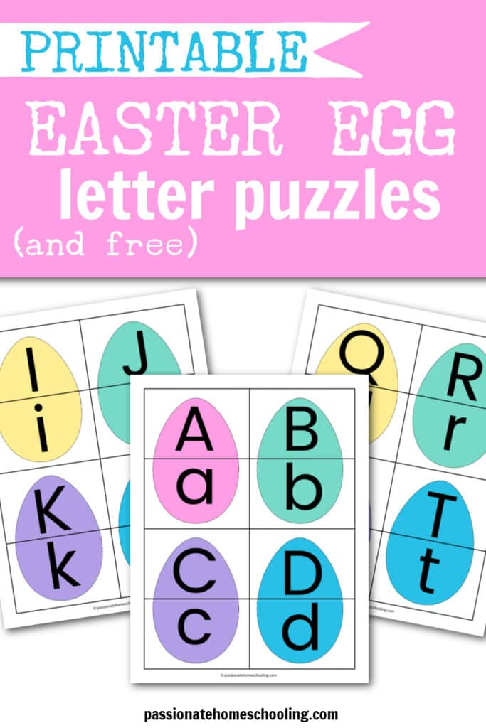 Easter egg letter matching puzzle sample image. Text overlay says Printable Easter Egg Letter Puzzles.