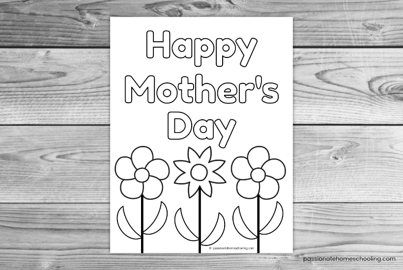 Happy Mother's Day flower coloring page sample.