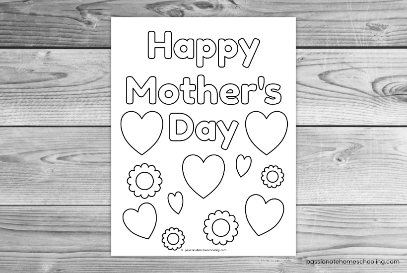 Happy Mother's Day hearts and flowers coloring page sample.