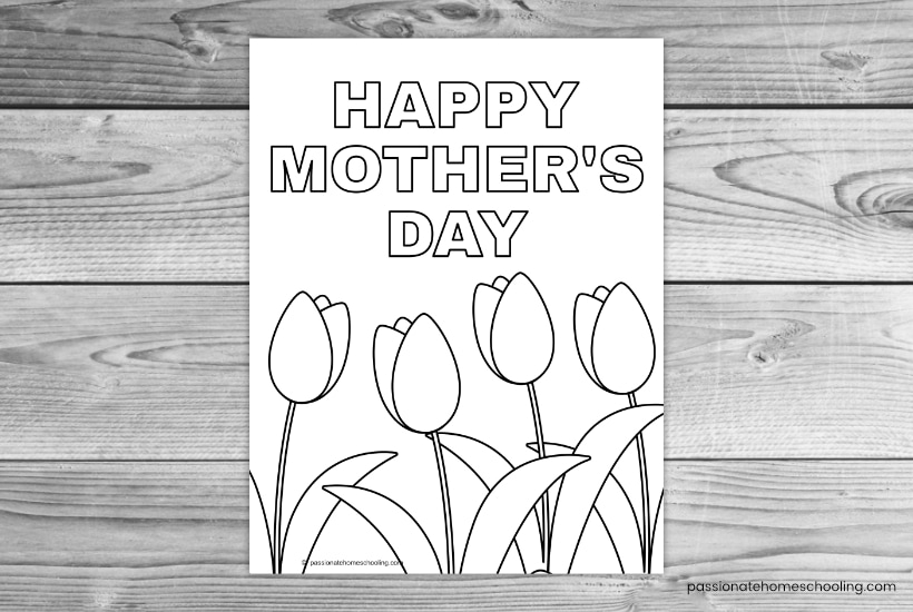 Happy Mother's Day Tulip Coloring Page Sample.